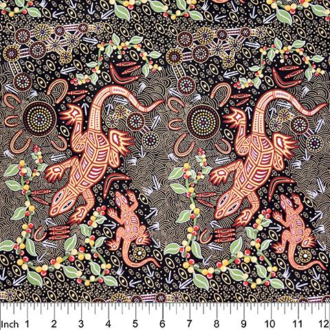 Black - Man & Goanna - Aboriginals by M & S Textiles Austrailia - MGB