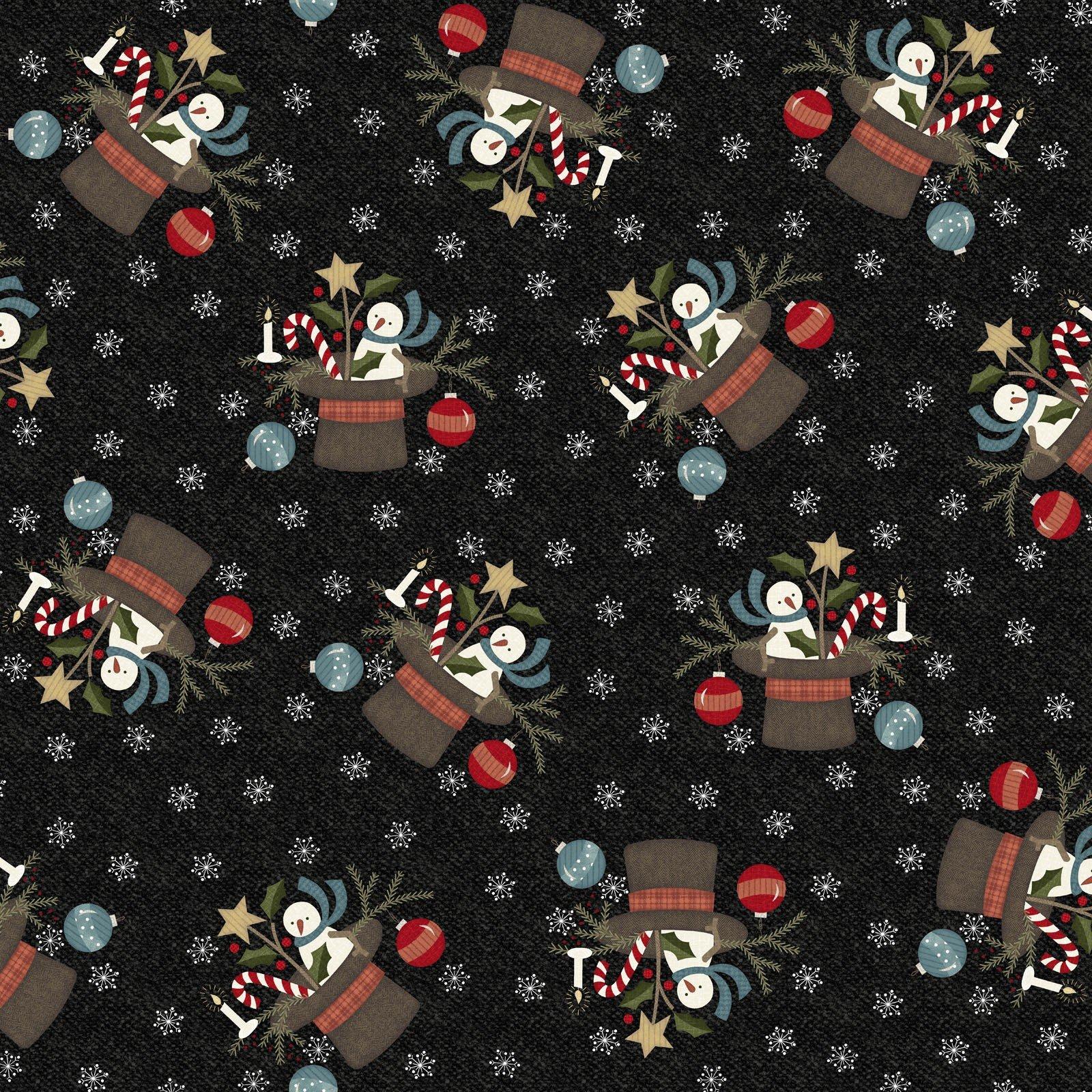 Charcoal Santa Hat - Snowdays Flannel by Bonnie Sullivan - MASF9933-JK