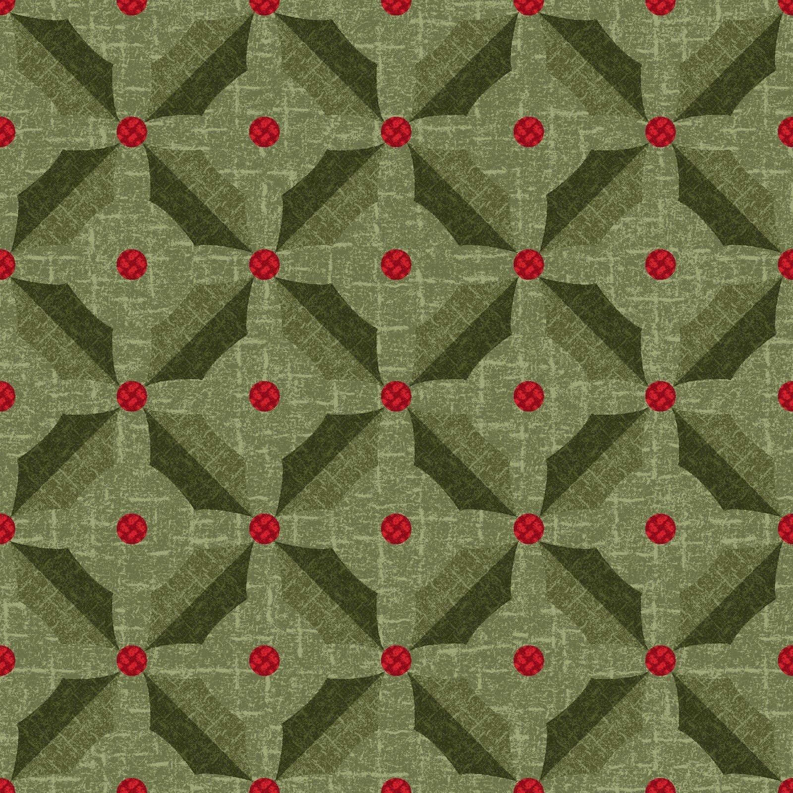 Green Holly - Snowdays Flannel by Bonnie Sullivan - MASF9935-G