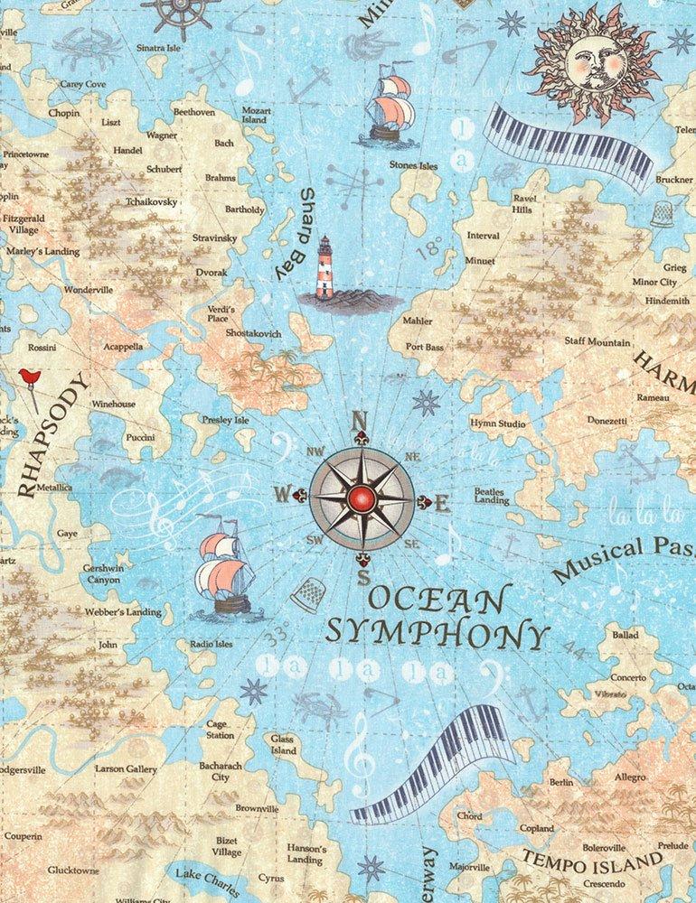 Sea Music Map - Row by Row - ROW-C5936 SEA