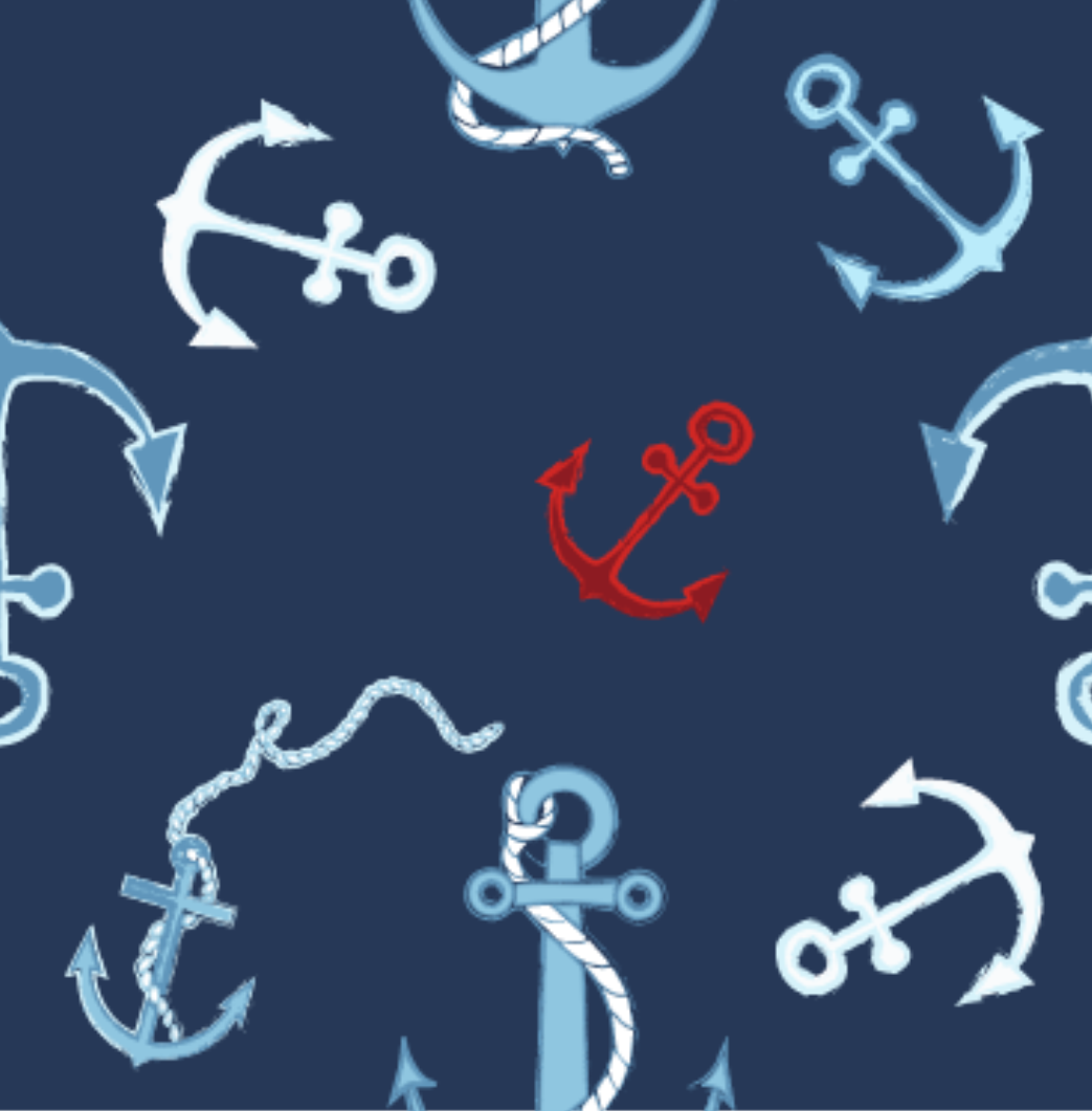 Minky Tossed Anchors - Navy - 1171