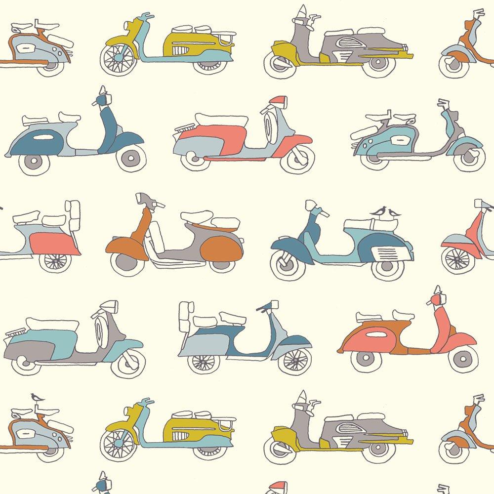 Mopeds Multi Poplin - Birch Fabrics