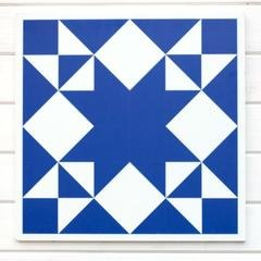 Barn Quilt Block - Truth - Blue & White 23 square
