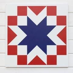 Barn Quilt Block - Valor - Blue & White & Red 23 square