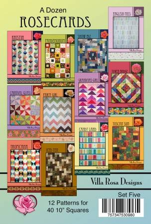 Set Five  - A Dozen Rosecard Patterns for Forty 10 In Squares - VDR005