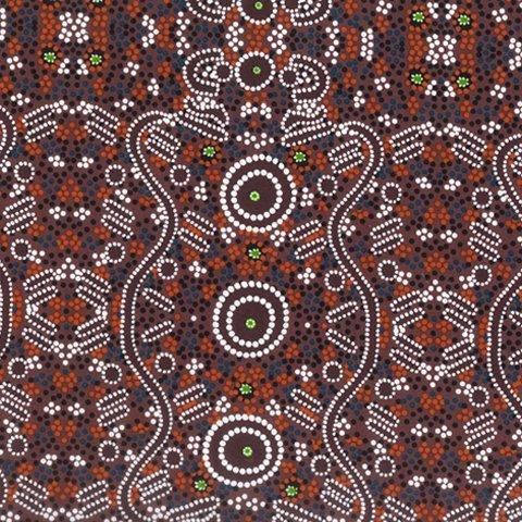 Burgundy - WATER DREAMING BURGUNDY - WATDB - Aboriginals by M & S Textiles Australia