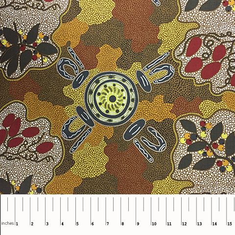 Brown Women Gather Bush Tucker - WGBTBR - Aboriginals by M & S Textiles Australia