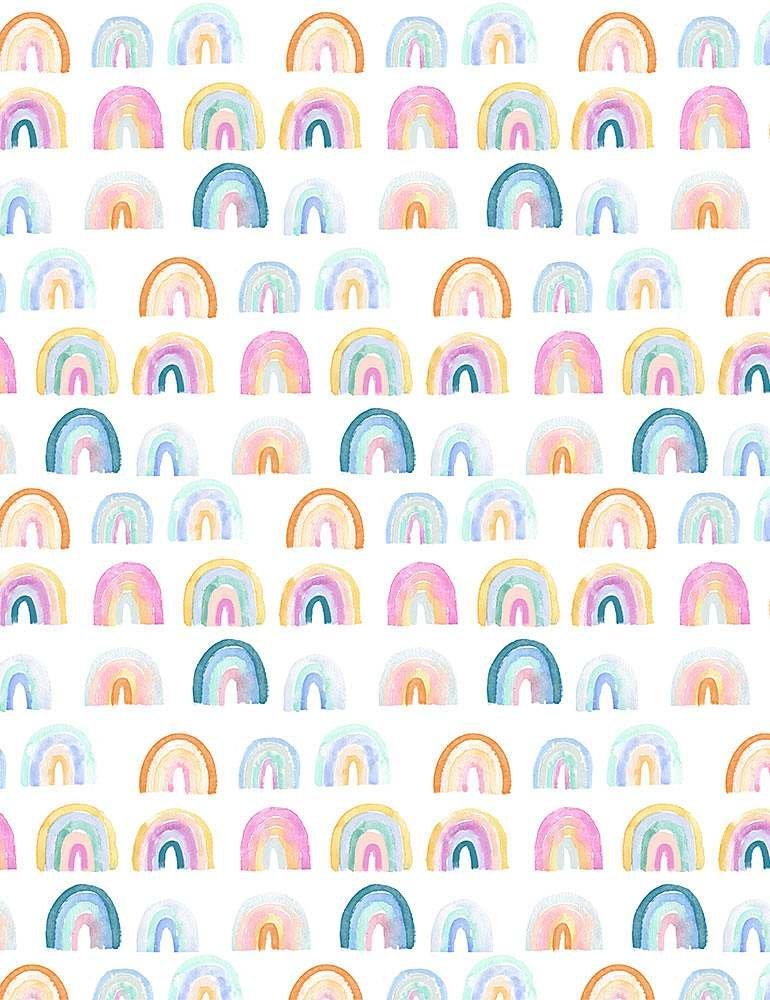 White - Rainbows - Minky - 100% POLYESTER DIGITAL WSTELLA-PCJ1743