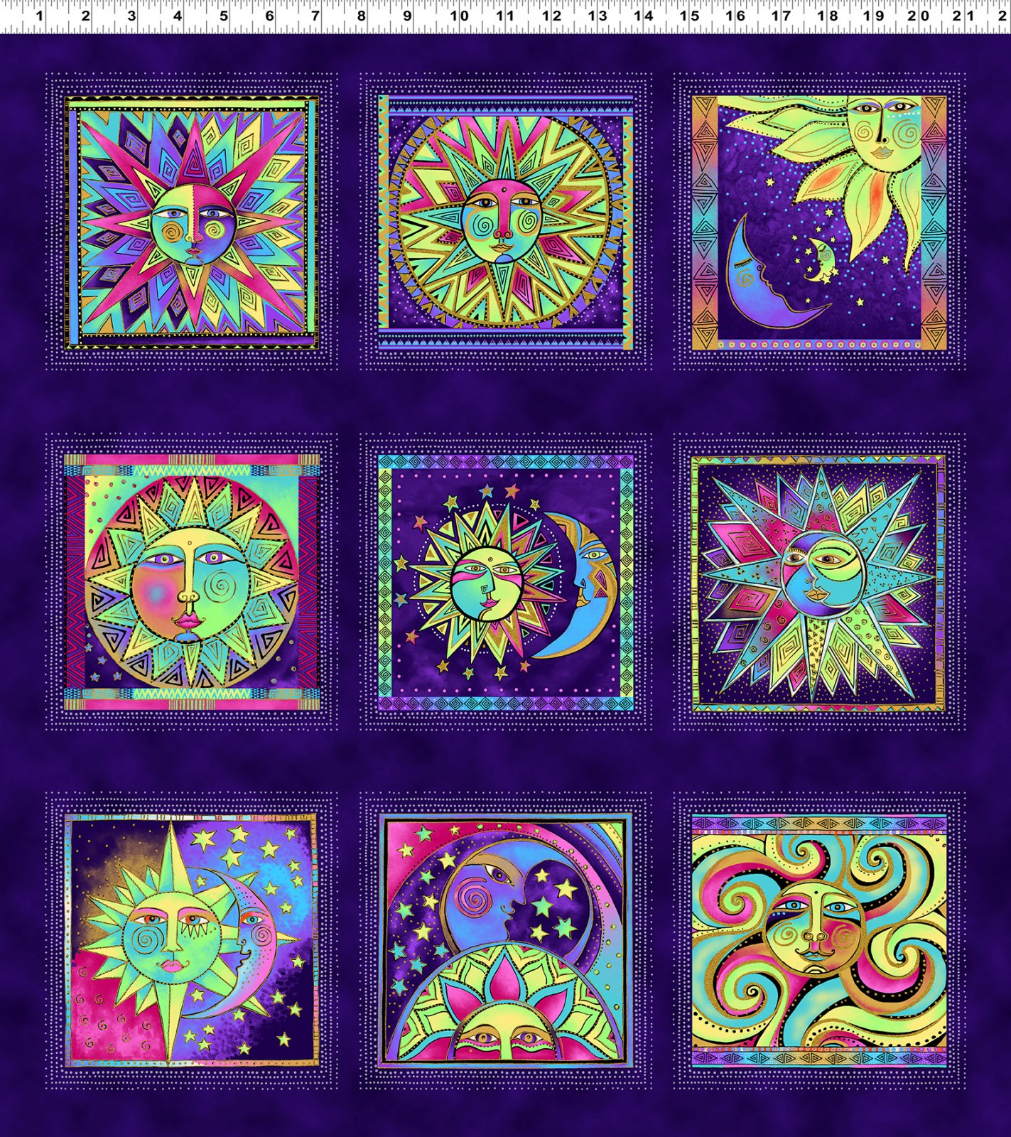 Dark Purple Metallic Blocks - Celestial Magic by Laurel Burch - Y3159-28M
