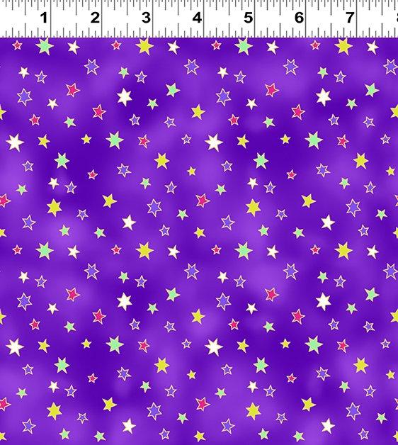 Dark Eggplant Stars - Celestial Magic  by Laurel Burch - Y3166-46