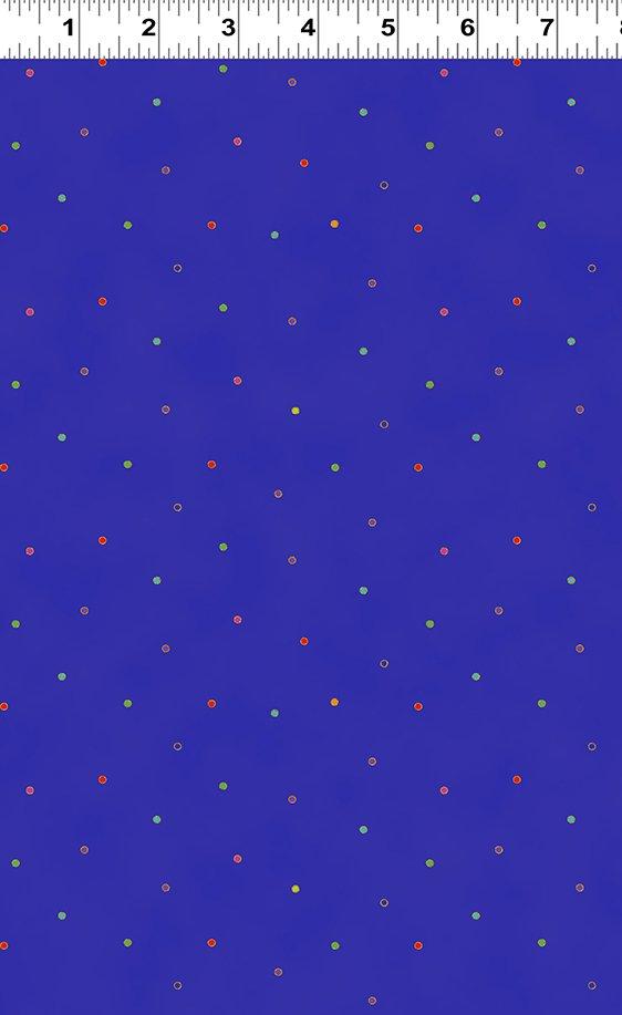 Dark Royal Blue Metallic Dots - Celestial Magic by Laurel Burch  - Y3167-92M