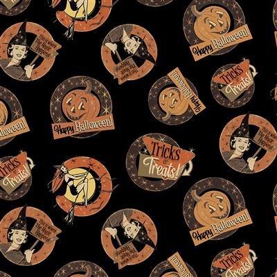 Black - Medallions - Retro Halloween by Dan DiPaolo - Y3246-3