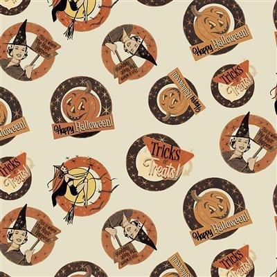 Cream - Medallions - Retro Halloween by Dan DiPaolo - Y3246-57