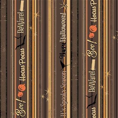 Dark Taupe - Spooky Stripe - Retro Halloween by Dan DiPaolo - Y3247-63