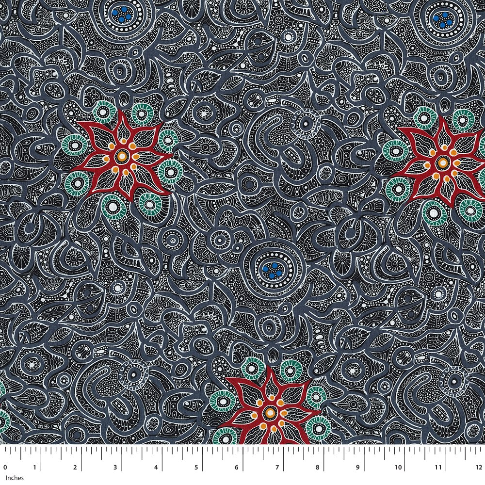 Black - Yallaroo - Aboriginals by M & S Textiles Austrailia - YLAB