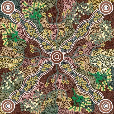 Black - YUENDUMU BUSH TOMATO BLACK - YBTB Aboriginals by M & S Textiles Australia