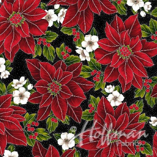 Hoffman  Poinsettia Song Q7635 213S Onyx Silver