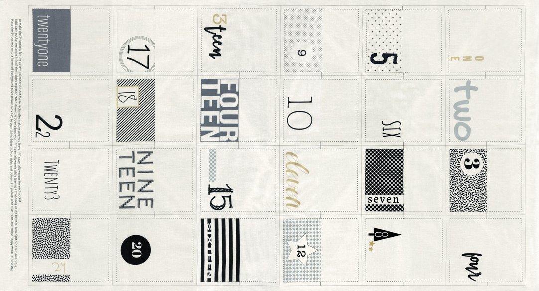 White Christmas Metallic White Advent Calendar Panel by Zen Chic for Moda 1650-11M