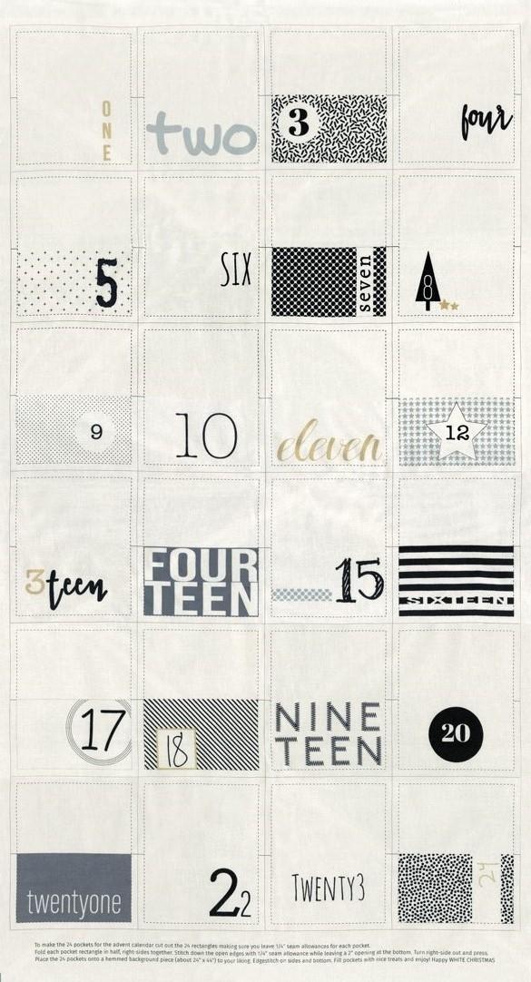 White Christmas Advent Calendar Panel by Zen Chic 1650-11M