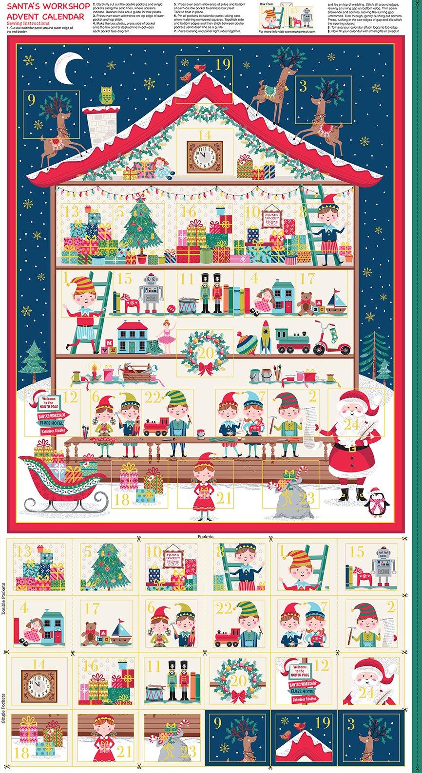 Let It Snow Santa's Workshop Advent 2227/1 by Makower UK