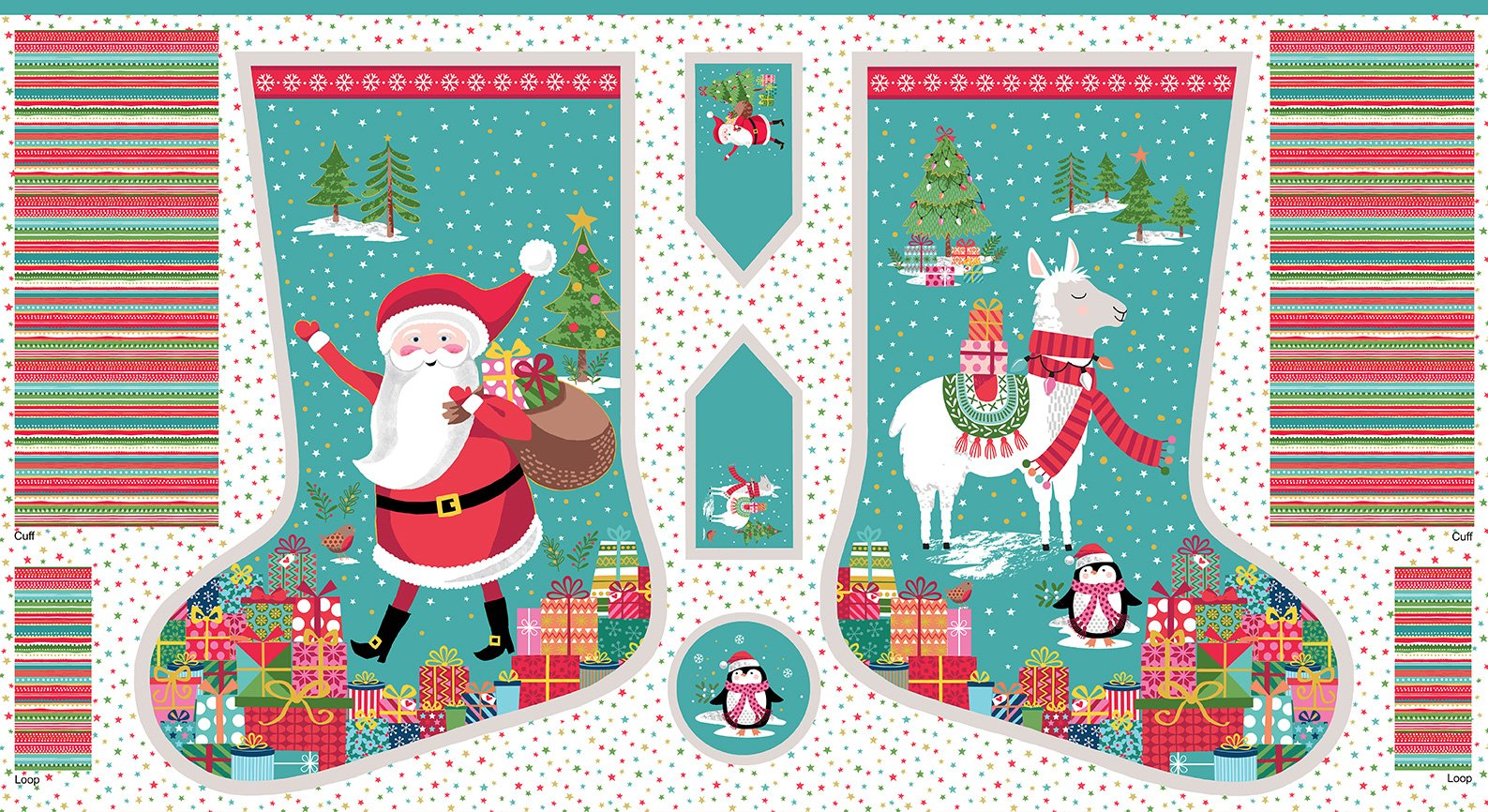 Let is Snow Christmas Stocking 2235/1 by Makower UK