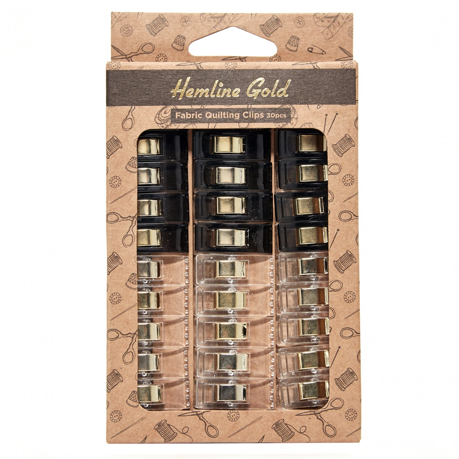 Quilting Fabric Clips - Pack of 30 Hemline Gold