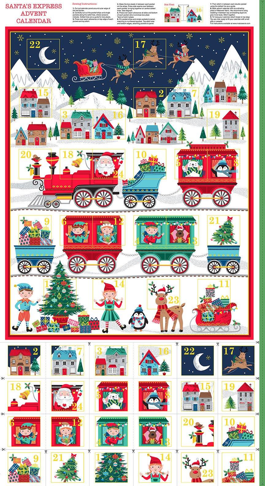 Santa Express Advent Panel 2387/1 by Makower UK