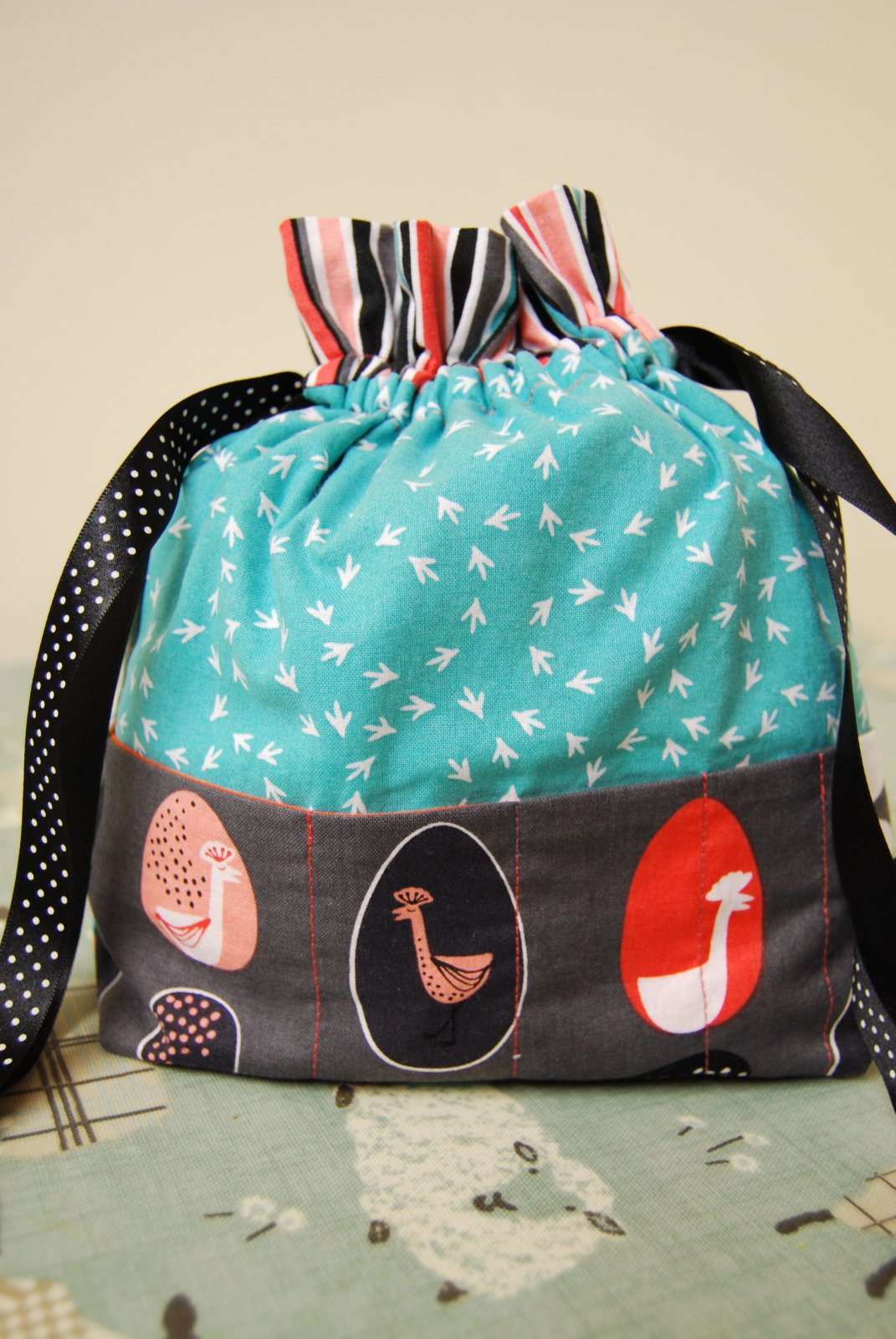 'Chickens' Project Bag - Made by Kerry for The Woolpatch