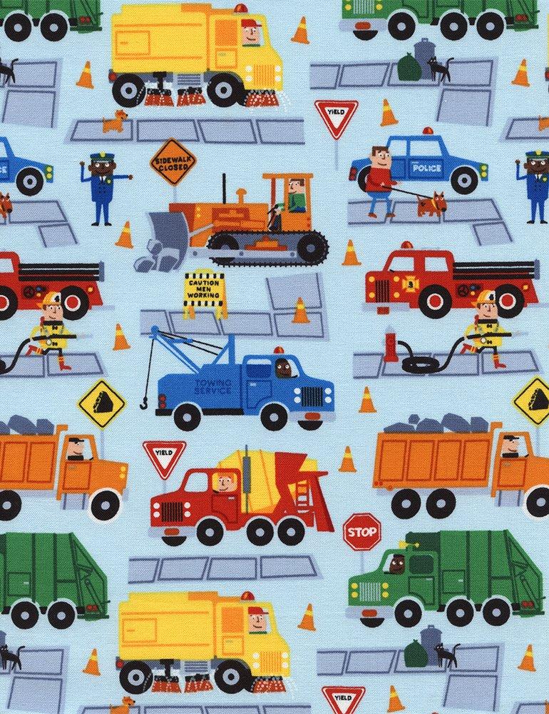 Traffic Jam Trucks C3278 Sky by Timeless Treasures