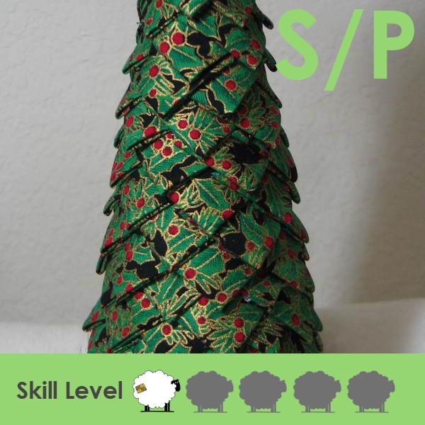 no sew folded fabric christmas tree table decoration