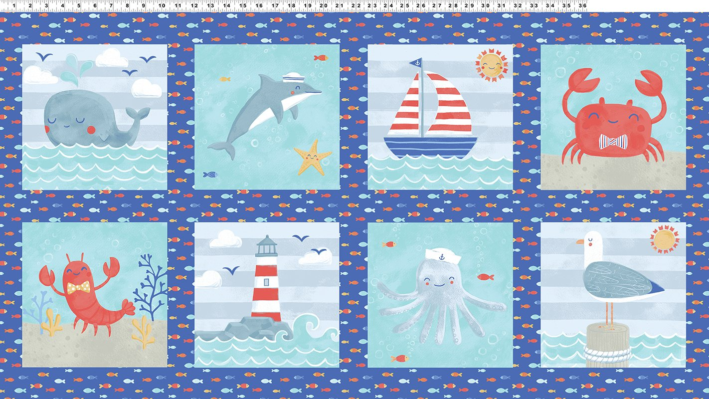 Sail Away 24 Panel Royal Blue by Anne Bollman for Clothworks