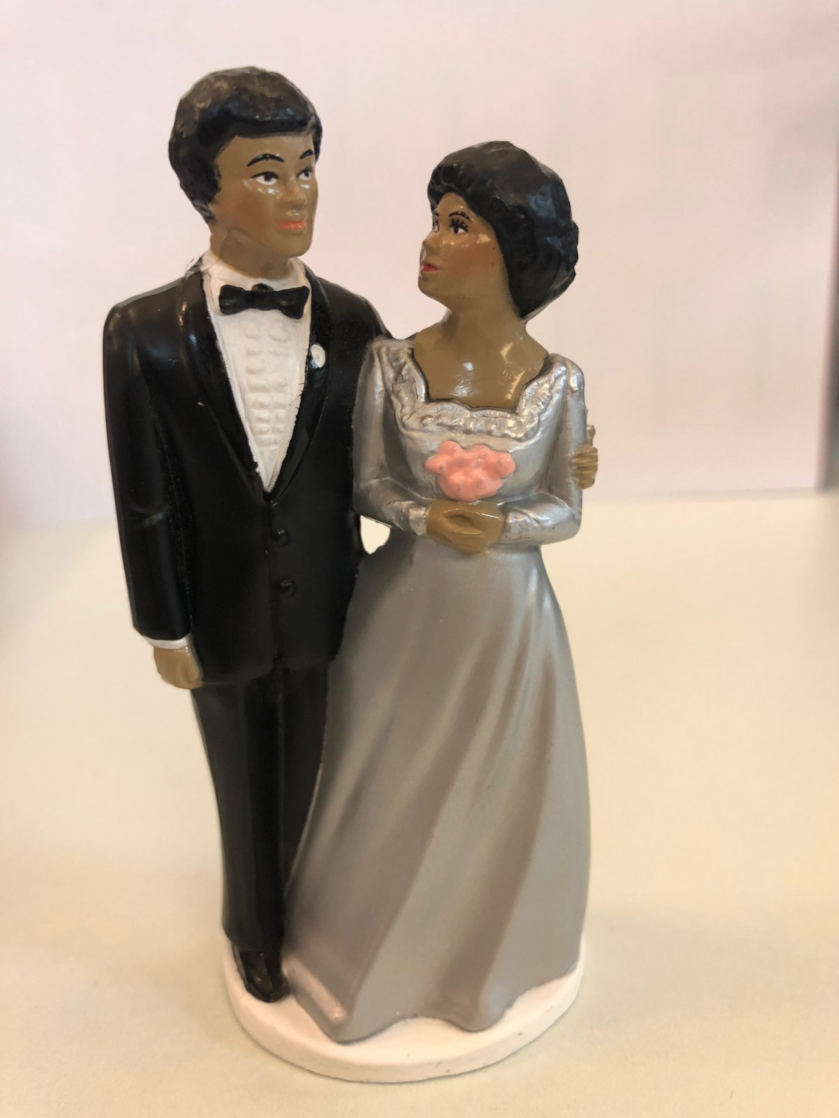 25th Anniversary African American Couple Cake Topper
