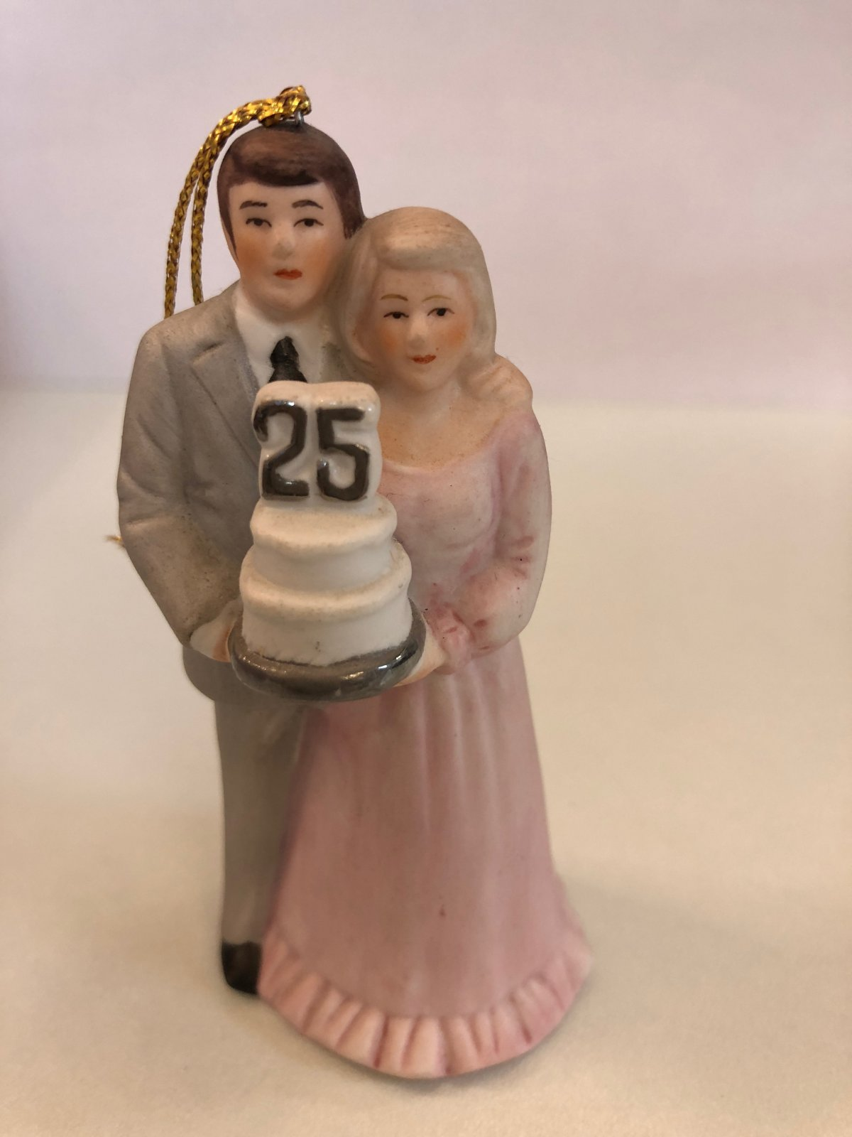 25th Anniversary Couple Porcelain Cake Topper