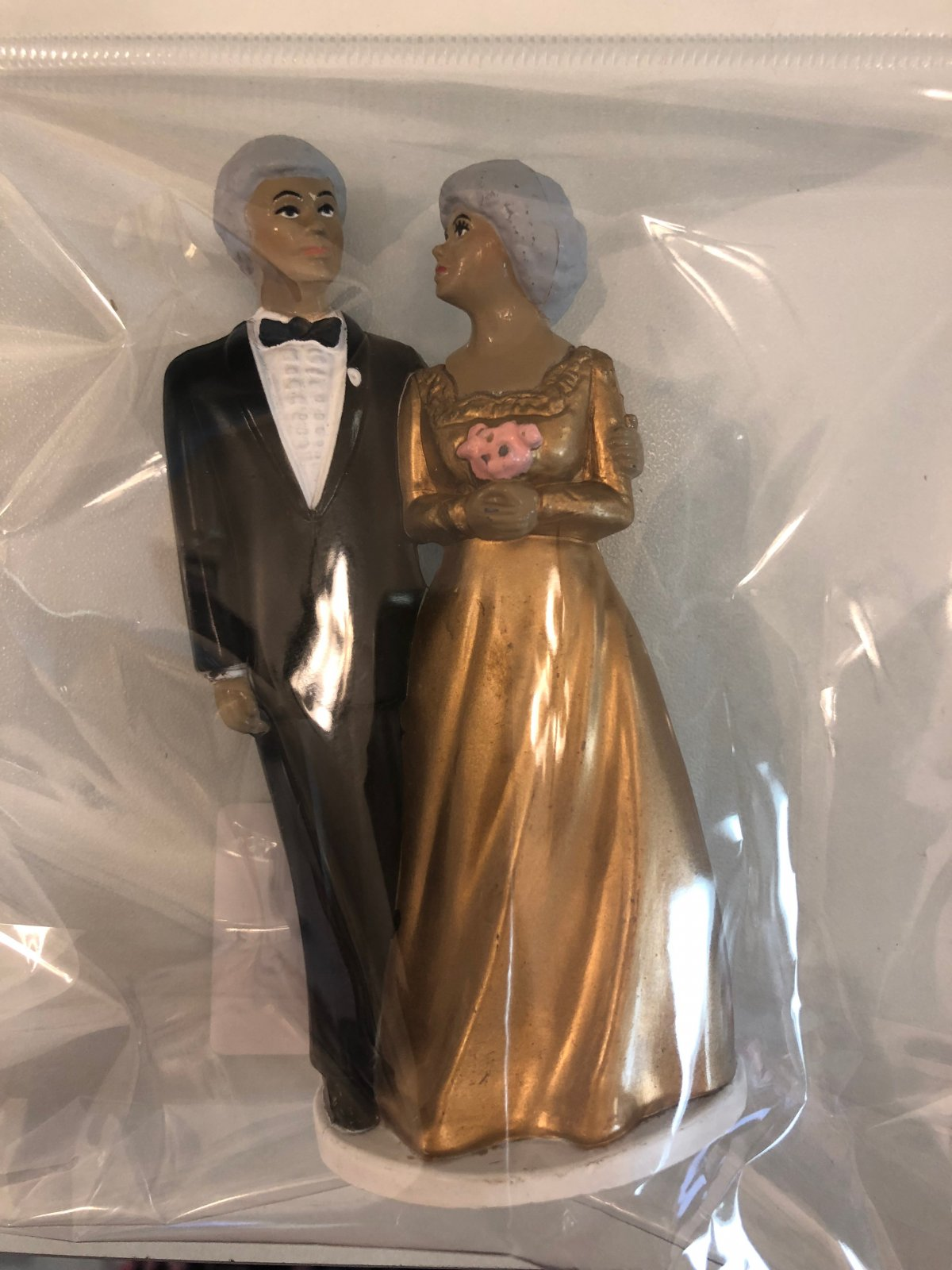 50th Anniversary African American Couple Cake Topper