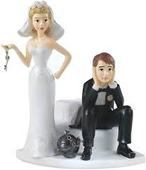 Ball & Chain Bride & Groom Cake Topper