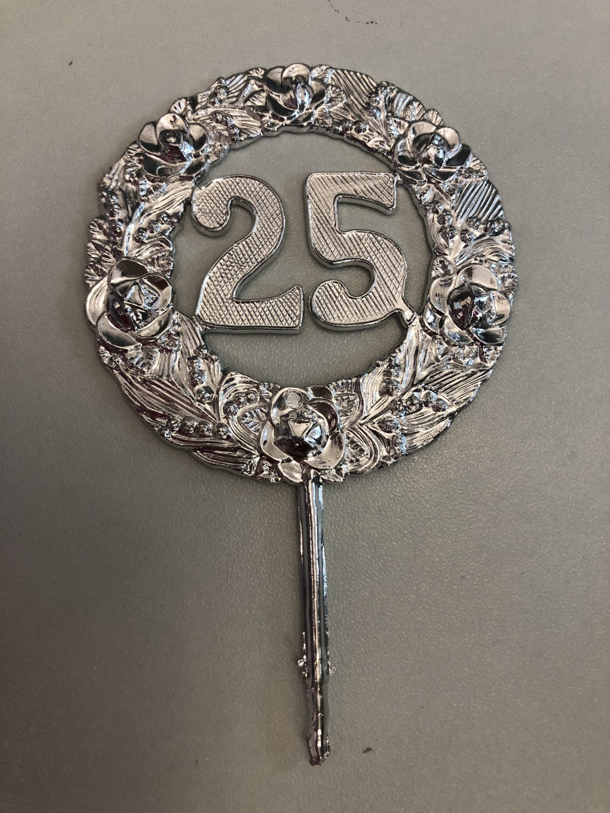 25th Anniversary Round Plaque Pick Cake Topper