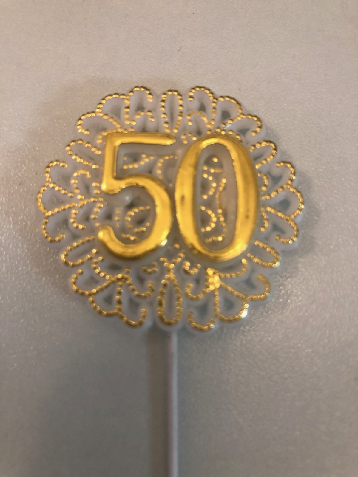 50th Anniversary Round Plaque Pick Cake Topper  1 1/2