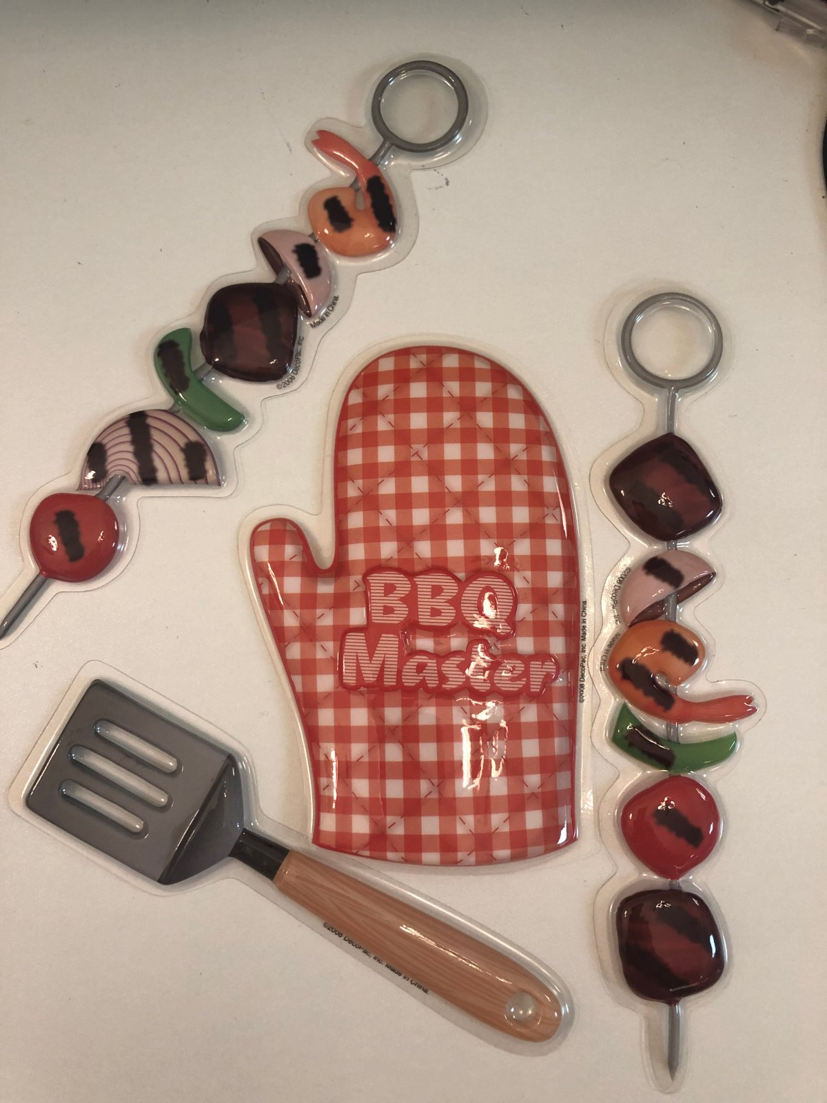 BBQ Grill Set Flat Cake Topper / Hot Mitt / Skewers / Spatula