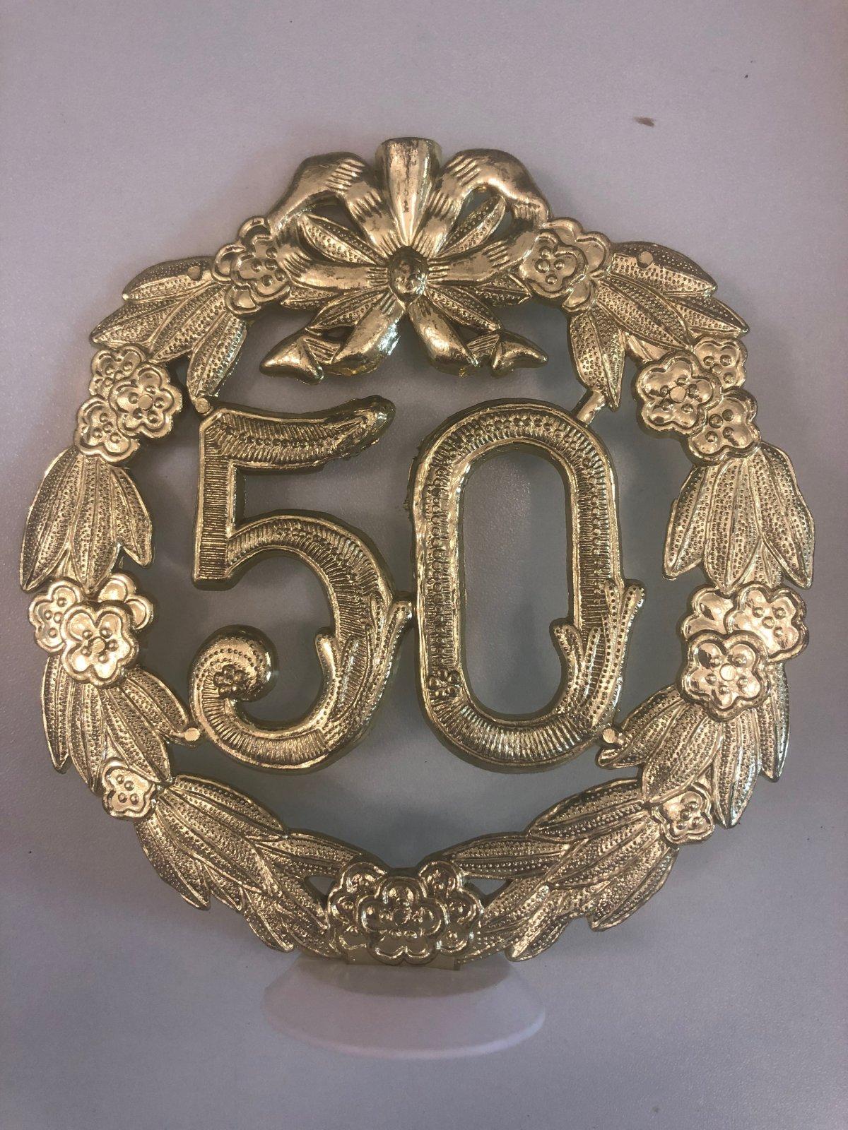 50th Anniversary  Plaque Cake Topper 5