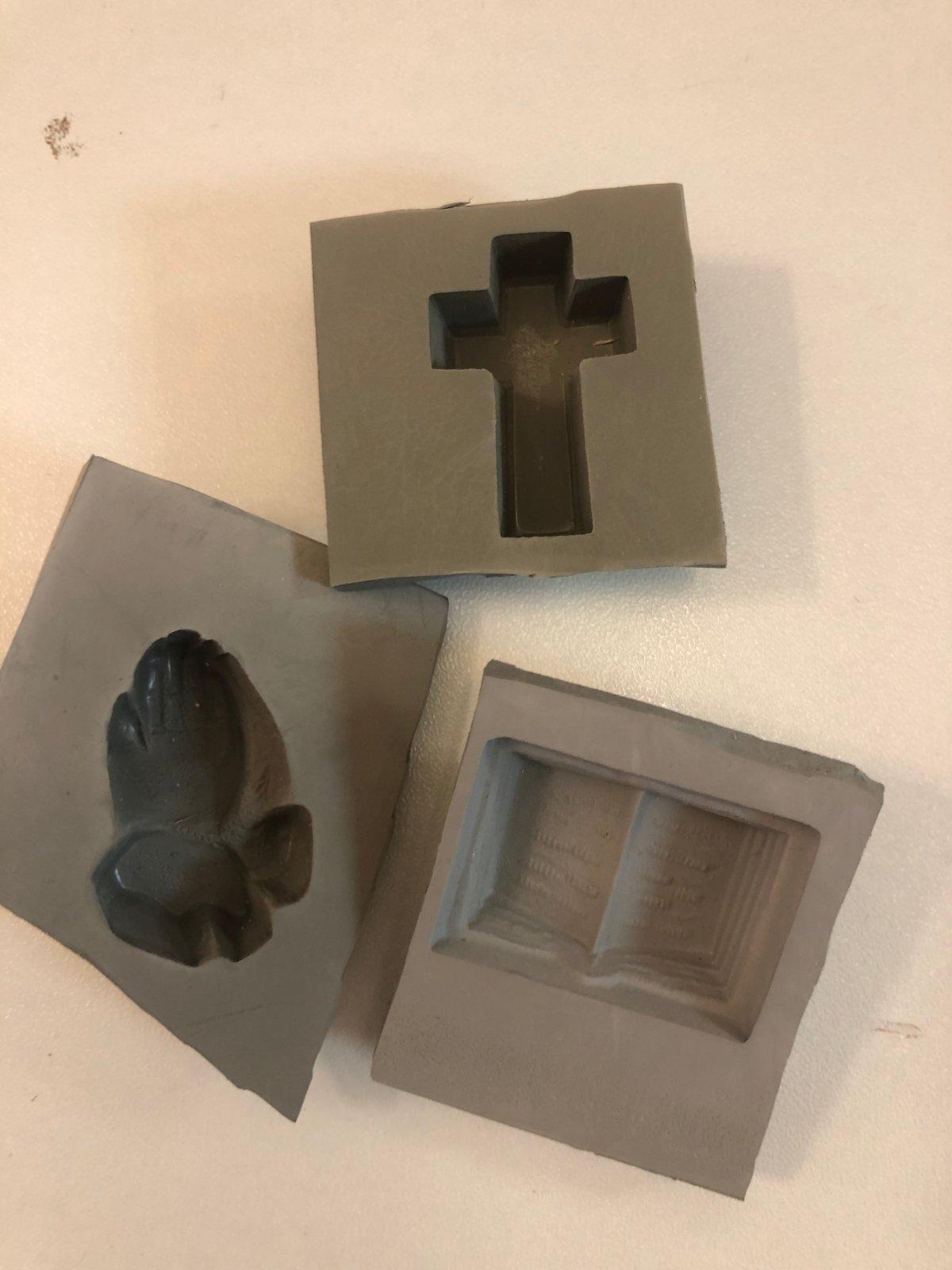 Cross, Praying Hands & Bible Rubber Cream Cheese Mint Mold 1 1/4