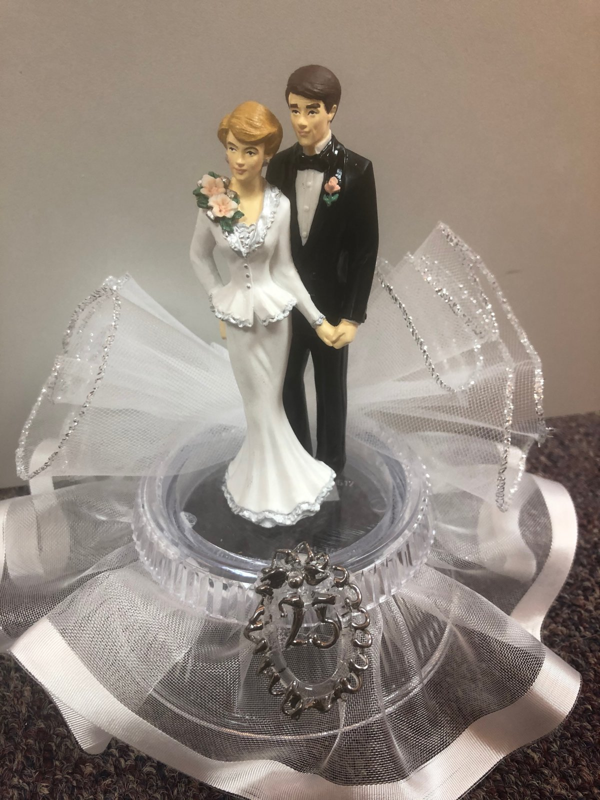 25th Anniversary  Couple Cake Topper  White Dress & Black Tux