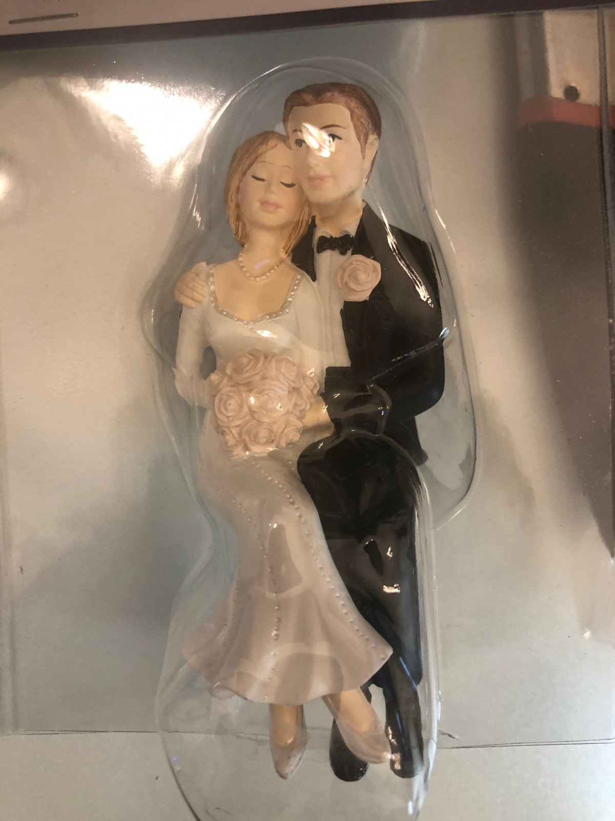 Sweet Wedding Couple  Sitting 4 1/2 Tall Poly Resin