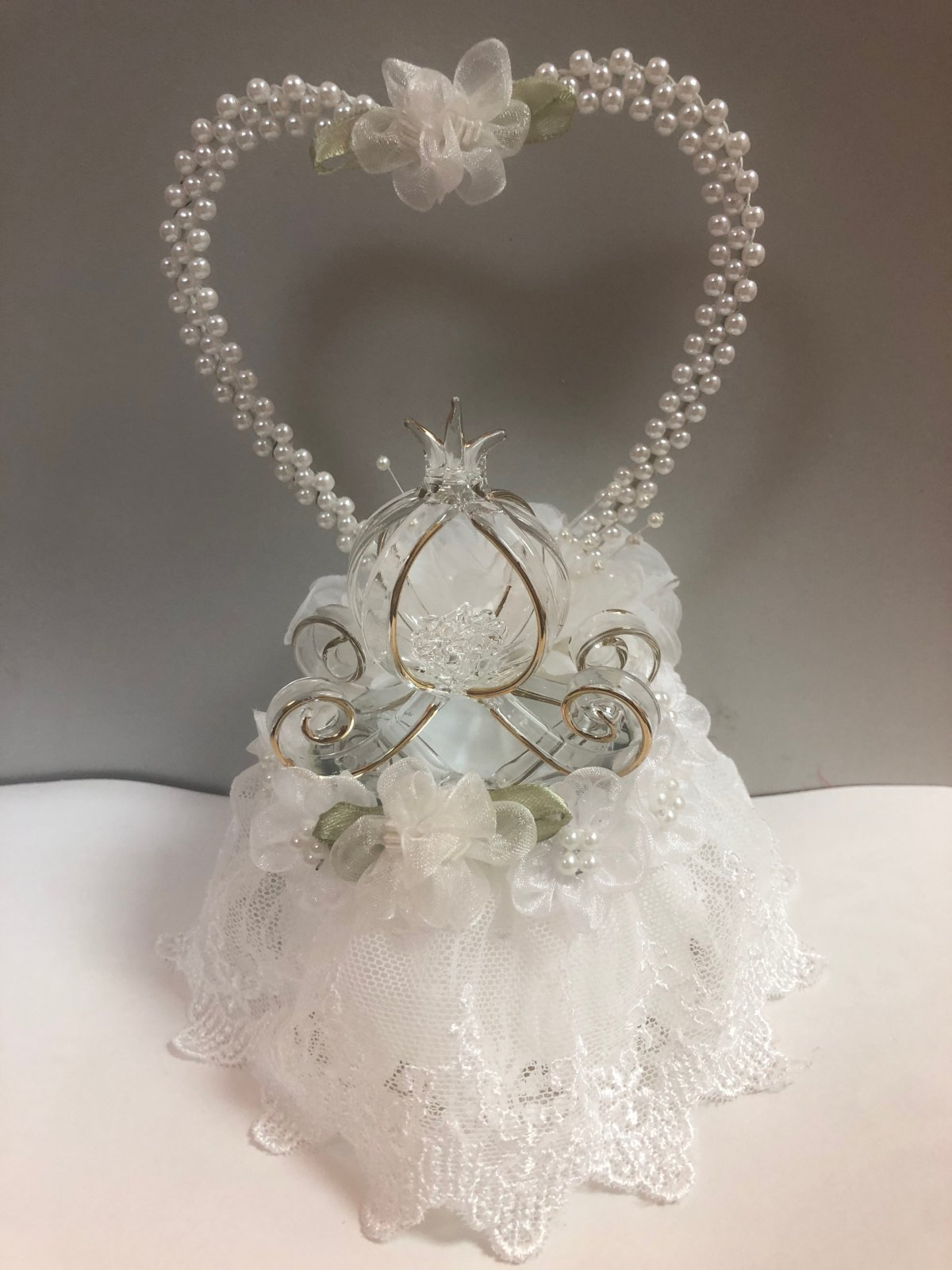 Glass Carriage Wedding Cake Topper