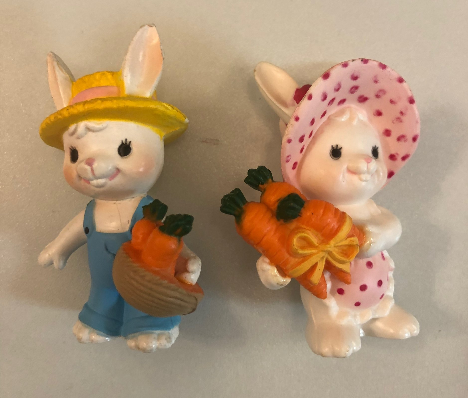 Boy & Girl Bunny with Carrots Cake Topper 2 3/4 Tall