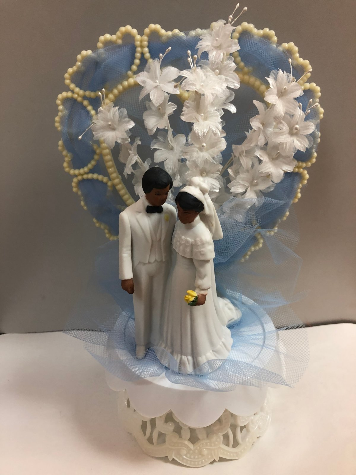 Ethnic Bride & Groom Wedding Cake Topper  with Blue Accents