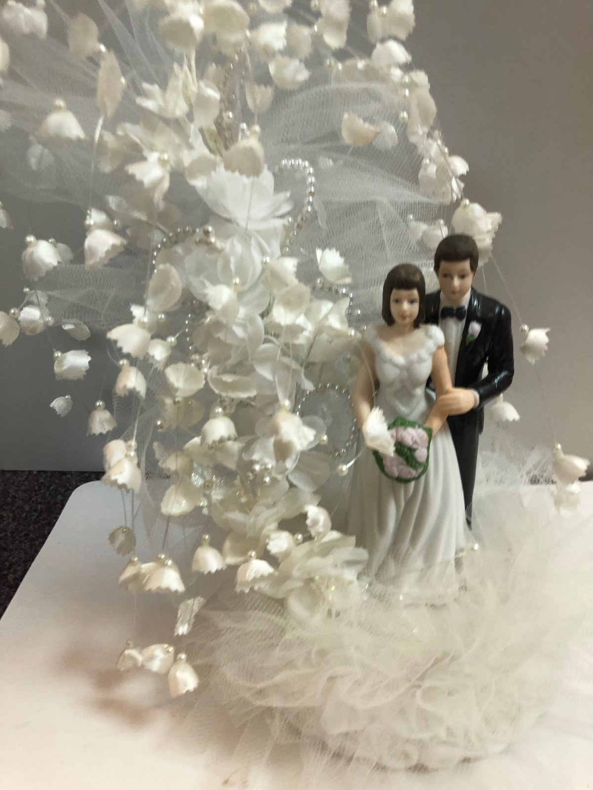 Porcelain Bride & Groom Cake Topper with Cascading Lilly of the Valley