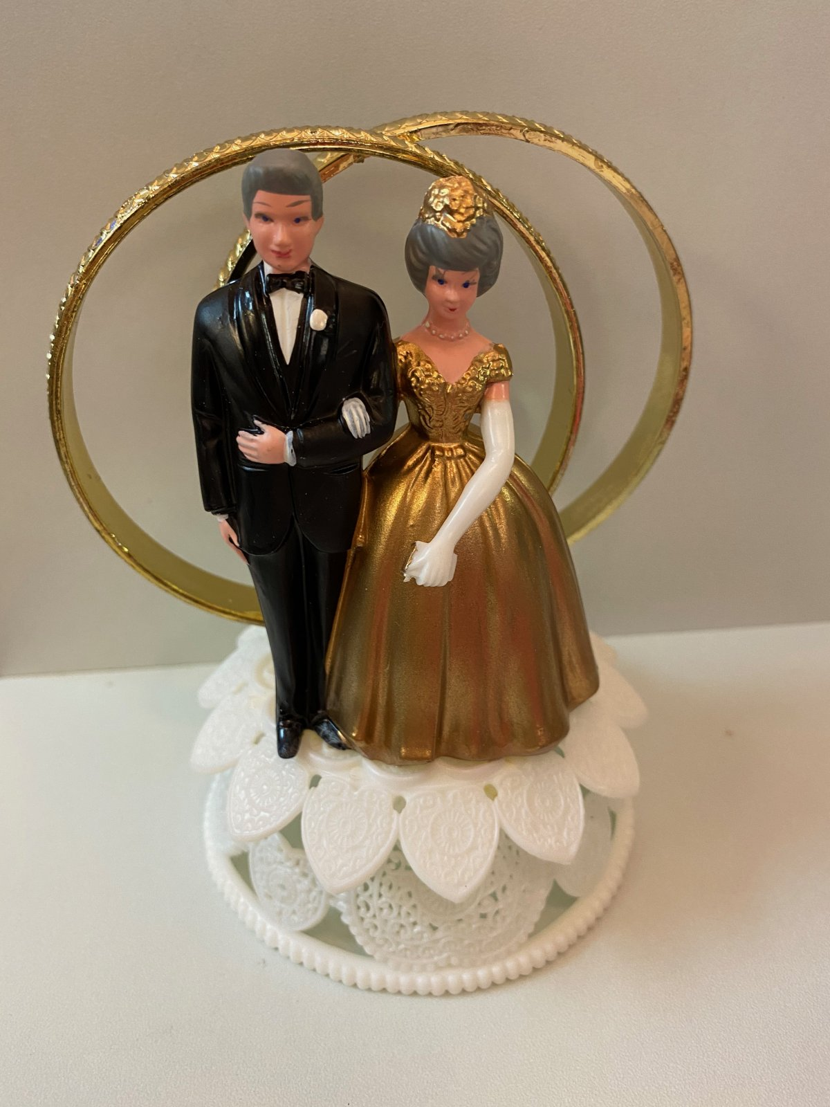 50th Anniversary Couple Cake Topper with Double Rings