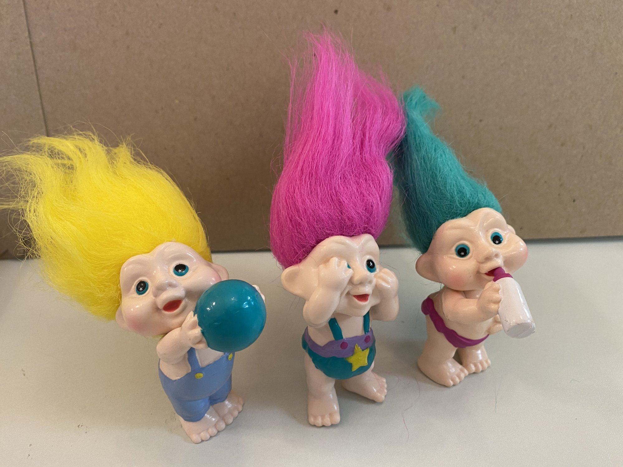 3pc Vintage Trolls Figurines cake kit 1 5 1/2 Tall