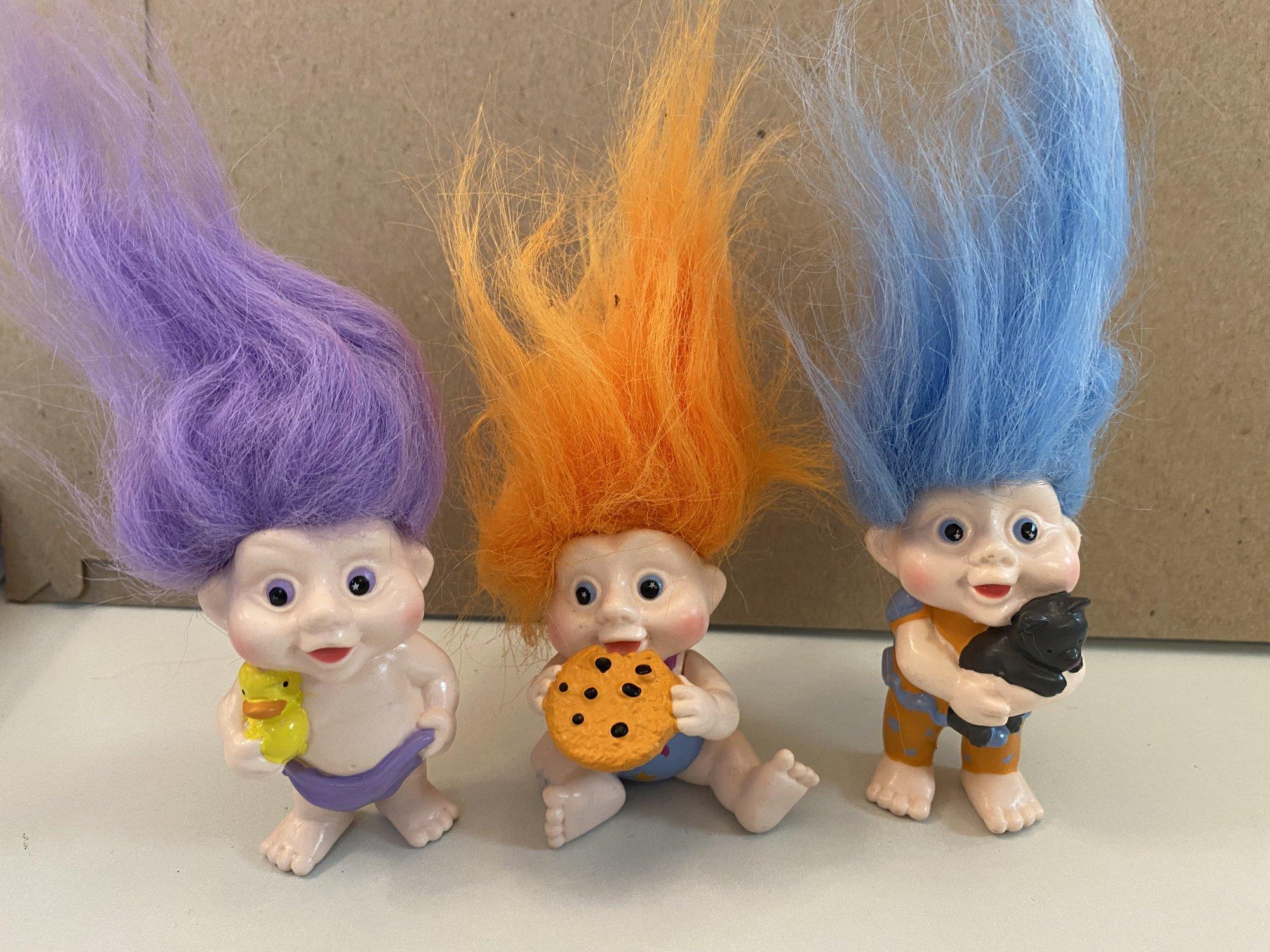 3pc Vintage Trolls Figurines cake kit 2 5 1/2 Tall