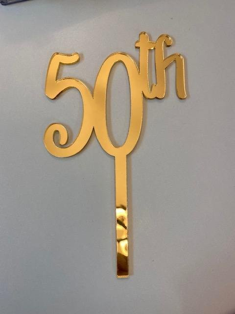 50th  Gold Mirror Acrylic Cake Topper